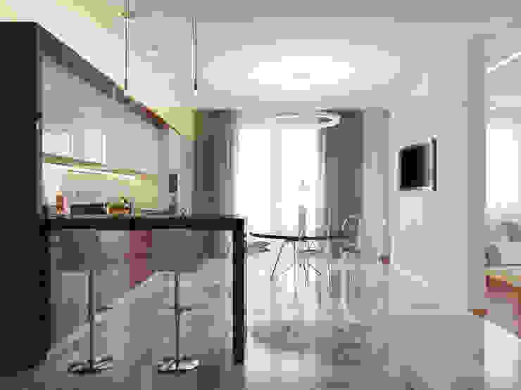 Дизайн интерьера коттеджа в современном стиле. Поселок Горы, Санкт-Петербург Кухня в стиле минимализм от Архитектурно-строительное бюро ID Craft Минимализм