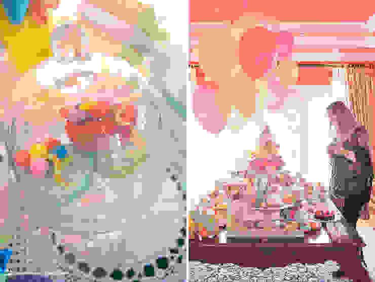 Detalhes da linda e colorida mesa de doces por Lima Limão- Festas com charme Moderno