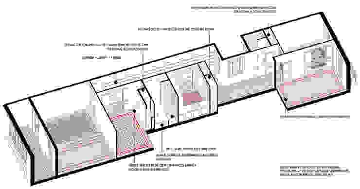 Axonometría Reforma Consell de Cent Casas de Anna & Eugeni Bach
