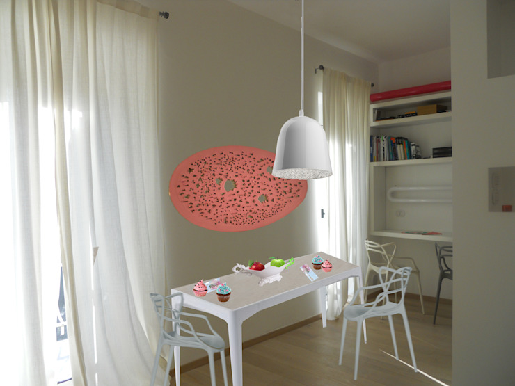 _Fotomontaggio_zona pranzo Case moderne di Idealarchitecture Moderno