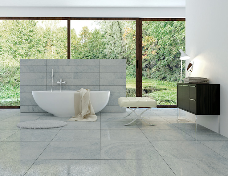 Sensestone Light Grey Matt Tiles par homify Moderne