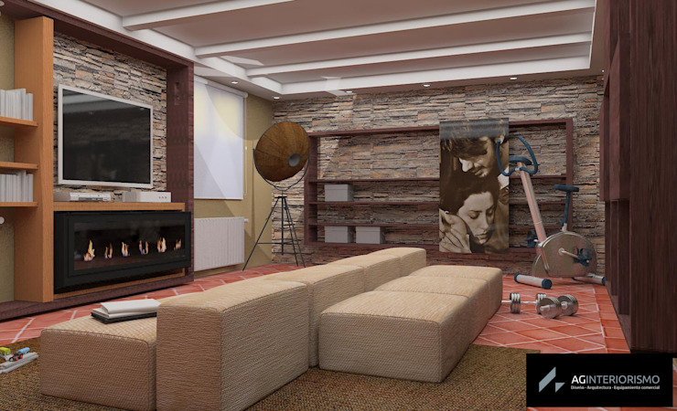 Render Sala multifuncional Salones rústicos de estilo rústico de AG INTERIORISMO Rústico