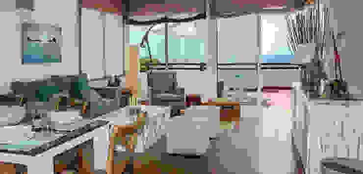 Decoración de villa vacacional Livings de estilo mediterráneo de Tatiana Doria, Diseño de interiores Mediterráneo