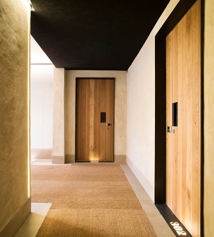 Hotel EME in Seville, Spain Donaire Arquitectos Eclectic style corridor, hallway & stairs