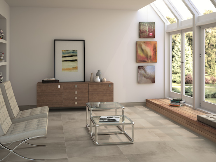 Advance Grey Concrete Effect Floor Tiles de homify Moderno