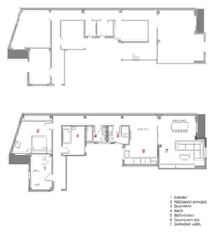 Plano Vivienda Casas de estilo moderno de Enblanc Moderno