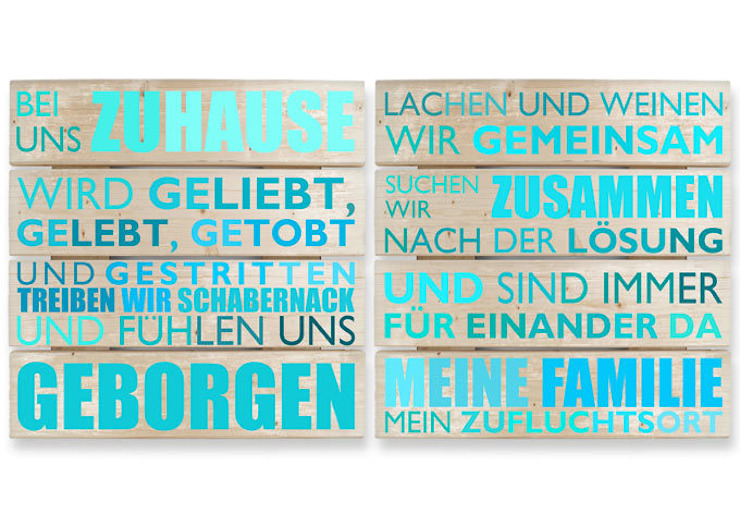 Holzbilder - Holzbild-Set Bei uns zu Hause - türkis (2-teilig) : modern  von K&L Wall Art,Modern