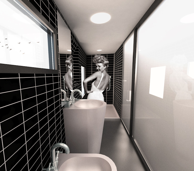 Q:NØ Arquitectos Phòng tắm phong cách Địa Trung Hải