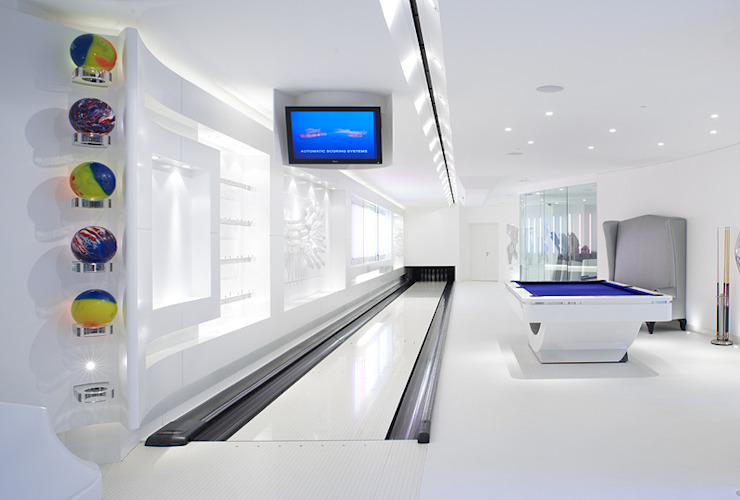 Basement bowling alley and gym zenotti Modern bathroom