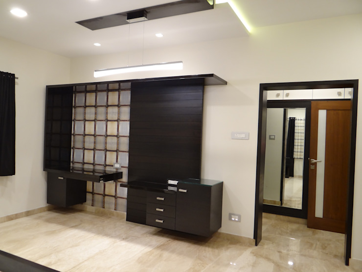 master bedroom TV unit Hasta architects Modern style bedroom