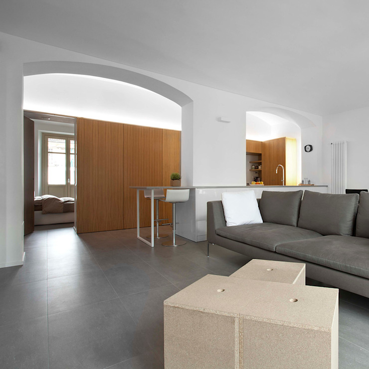 现代客厅設計點子、靈感 & 圖片 根據 studioata 現代風