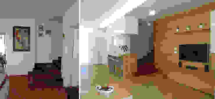 Vista dall'ingresso prima e dopo Soggiorno moderno di Studio Massimo Rinaldo architetto Moderno