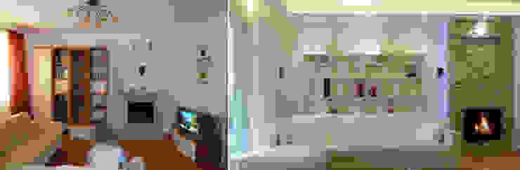 Il soggiorno prima e dopo Soggiorno moderno di Studio Massimo Rinaldo architetto Moderno