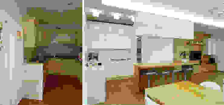 L'angolo cottura prima e dopo Soggiorno moderno di Studio Massimo Rinaldo architetto Moderno