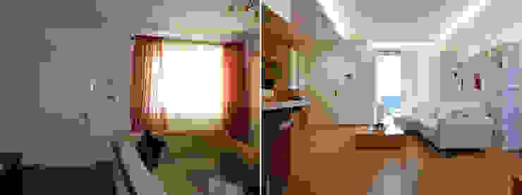 L'ingresso prima e dopo Soggiorno moderno di Studio Massimo Rinaldo architetto Moderno