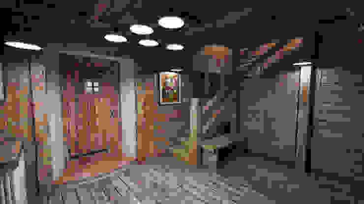 Cascina di Montagna Ingresso, Corridoio & Scale in stile rustico di studiosagitair Rustico