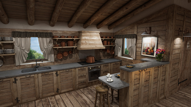 Cascina di Montagna Cucina in stile rustico di studiosagitair Rustico