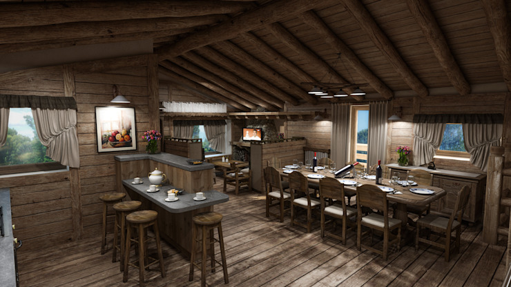 Cascina di Montagna Sala da pranzo in stile rustico di studiosagitair Rustico