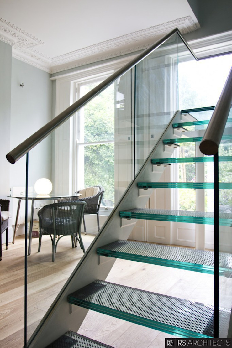 Islington House Conversion Modern corridor, hallway & stairs by RS Architects Modern