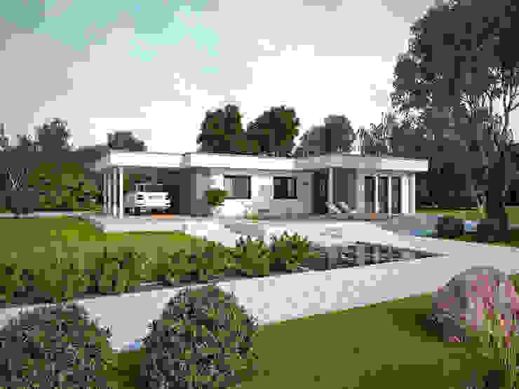 Life 110 Flachdach: modern  von Bau mein Haus - eine Marke der Green Building Deutschland GmbH,Modern
