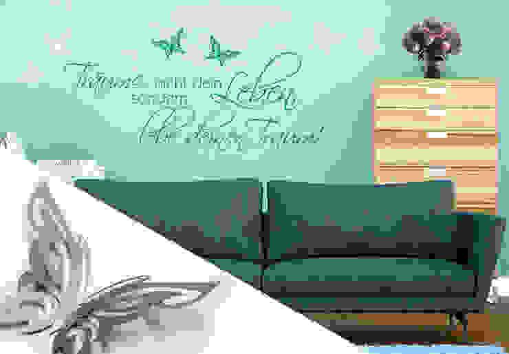 Wandtattoo - Träume nicht dein Leben... 2 + 3D Deko-Schmetterlinge von K&L Wall Art Ausgefallen