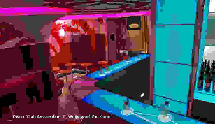 Innenarchitektonische Gesamtkonzeption Disco <q>Club Amsterdam 1</q> – Wolgograd, Russland Moderne Gastronomie von GID│GOLDMANN-INTERIOR-DESIGN - Innenarchitekt in Sehnde Modern Glas