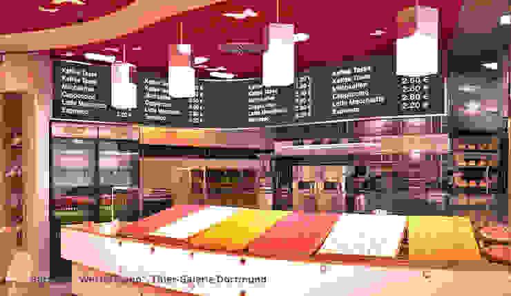 Innenarchitektonische Gesamtkonzeption Bäckerei Westermann - Dortmund Moderne Gastronomie von GID│GOLDMANN-INTERIOR-DESIGN - Innenarchitekt in Sehnde Modern Holzwerkstoff Transparent