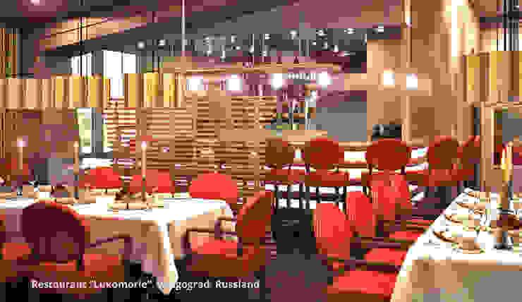 Innenarchitektonische Neugestaltung eines Clubs mit Restaurant <q>Lukomorie</q> – Wolgograd, Russland Klassische Gastronomie von GID│GOLDMANN-INTERIOR-DESIGN - Innenarchitekt in Sehnde Klassisch Holzwerkstoff Transparent