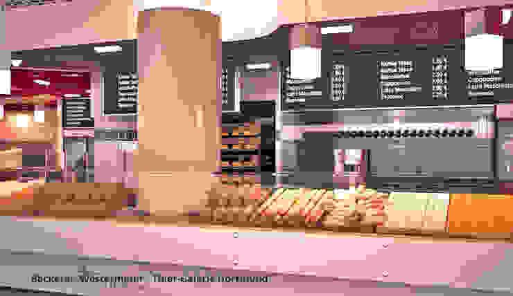 Innenarchitektonische Gesamtkonzeption Bäckerei Westermann – Dortmund Moderne Gastronomie von GID│GOLDMANN-INTERIOR-DESIGN - Innenarchitekt in Sehnde Modern Holzwerkstoff Transparent