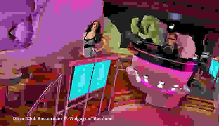 Innenarchitektonische Gesamtkonzeption Disco <q>Club Amsterdam 1</q> – Wolgograd, Russland Moderne Gastronomie von GID│GOLDMANN-INTERIOR-DESIGN - Innenarchitekt in Sehnde Modern Holzwerkstoff Transparent