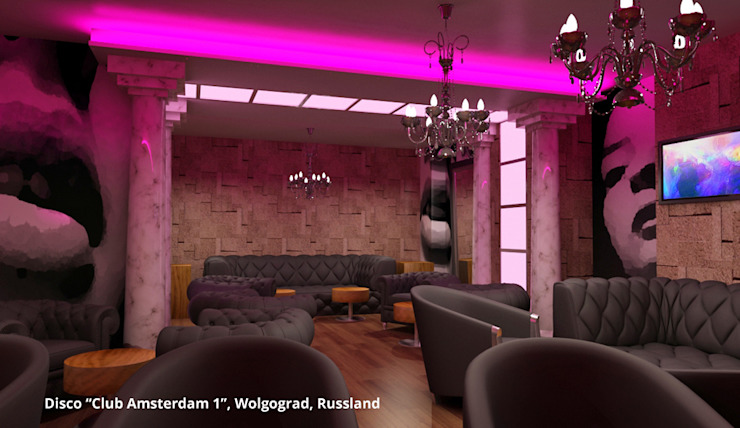 Innenarchitektonische Gesamtkonzeption Disco <q>Club Amsterdam 1</q> – Wolgograd, Russland Moderne Gastronomie von GID│GOLDMANN-INTERIOR-DESIGN - Innenarchitekt in Sehnde Modern MDF