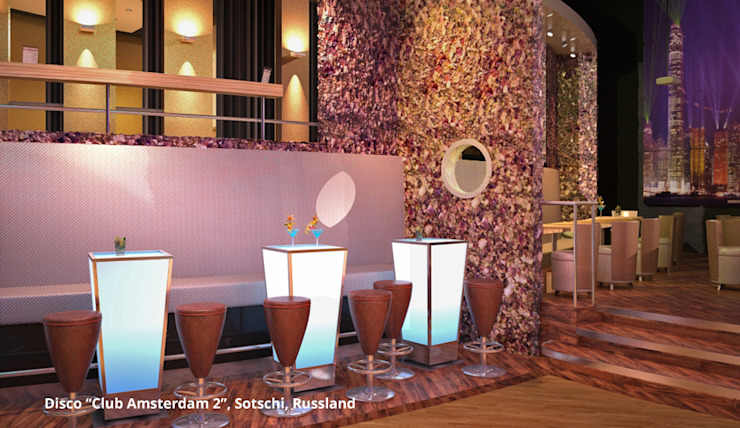 Innenarchitektonische Gesamtkonzeption Disco <q>Club Amsterdam 2</q> – Sotschi, Russland Moderne Gastronomie von GID│GOLDMANN-INTERIOR-DESIGN - Innenarchitekt in Sehnde Modern