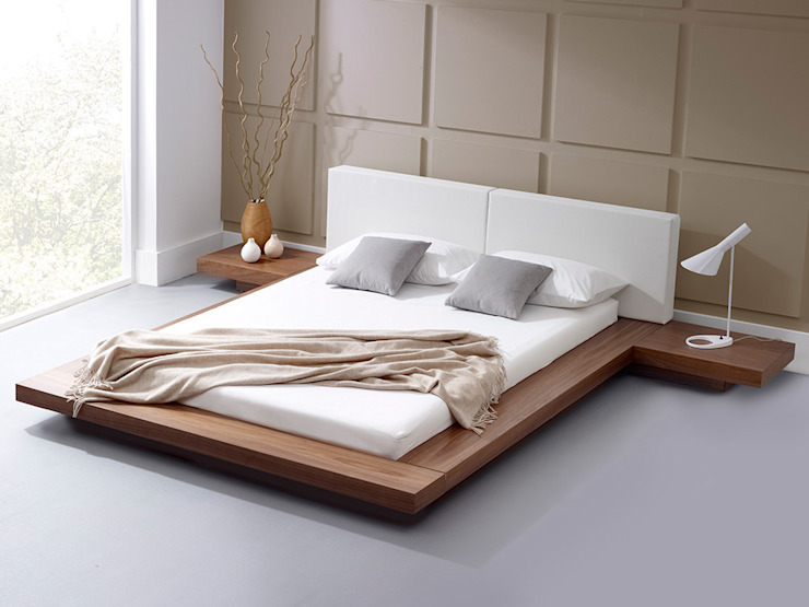 Harmonia Natural Walnut Bed homify BedroomBeds & headboards