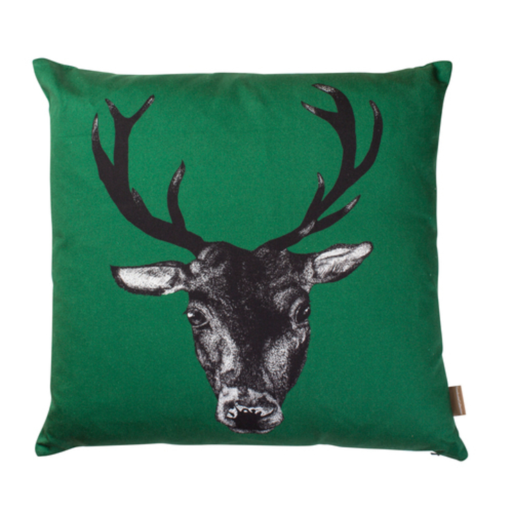 Stag Cushion in Green by Lisa Bliss: country  by Anthea's Home Store, Country