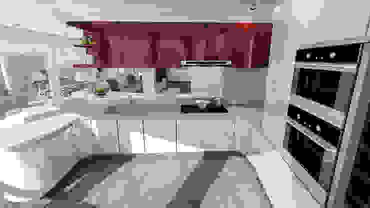 cucina con penisola Cucina moderna di studiosagitair Moderno