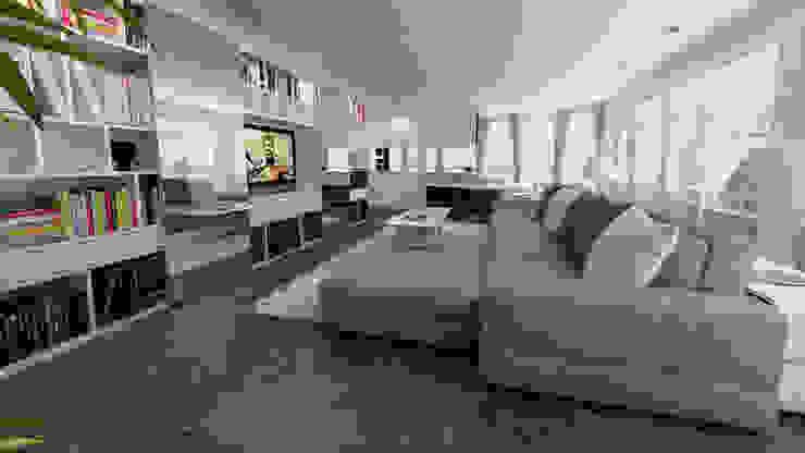 living open space Soggiorno moderno di studiosagitair Moderno