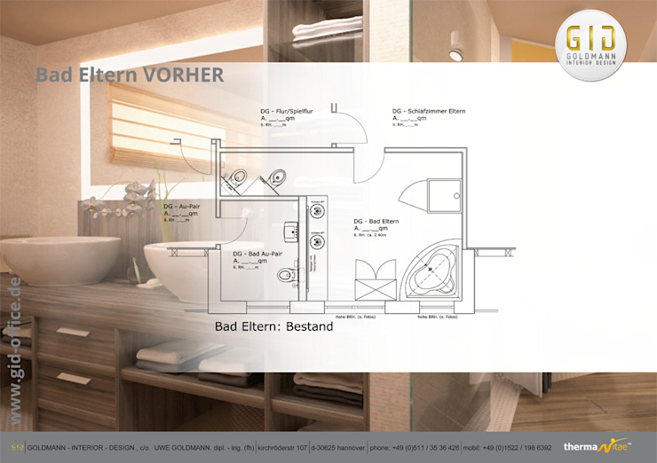 Vorher:  Badezimmer von GID│GOLDMANN-INTERIOR-DESIGN - Innenarchitekt in Sehnde,
