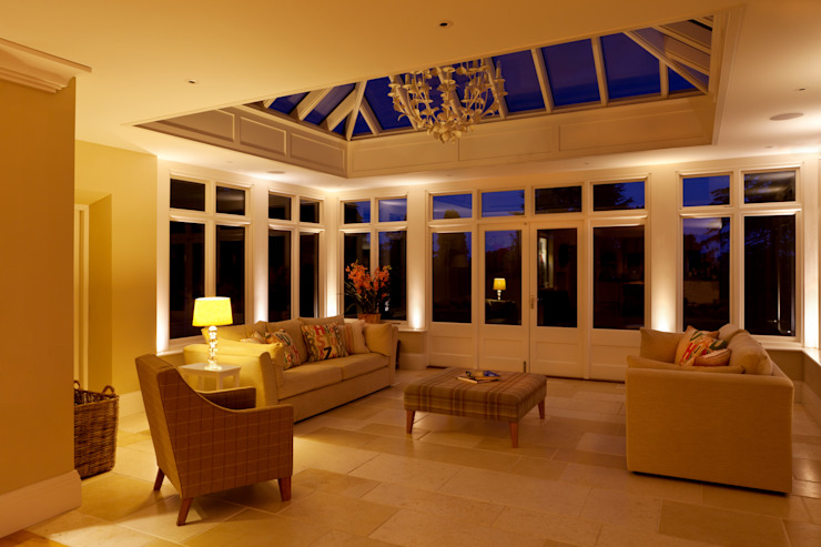 The Conservatory at Night Brilliant Lighting Eclectic style living room