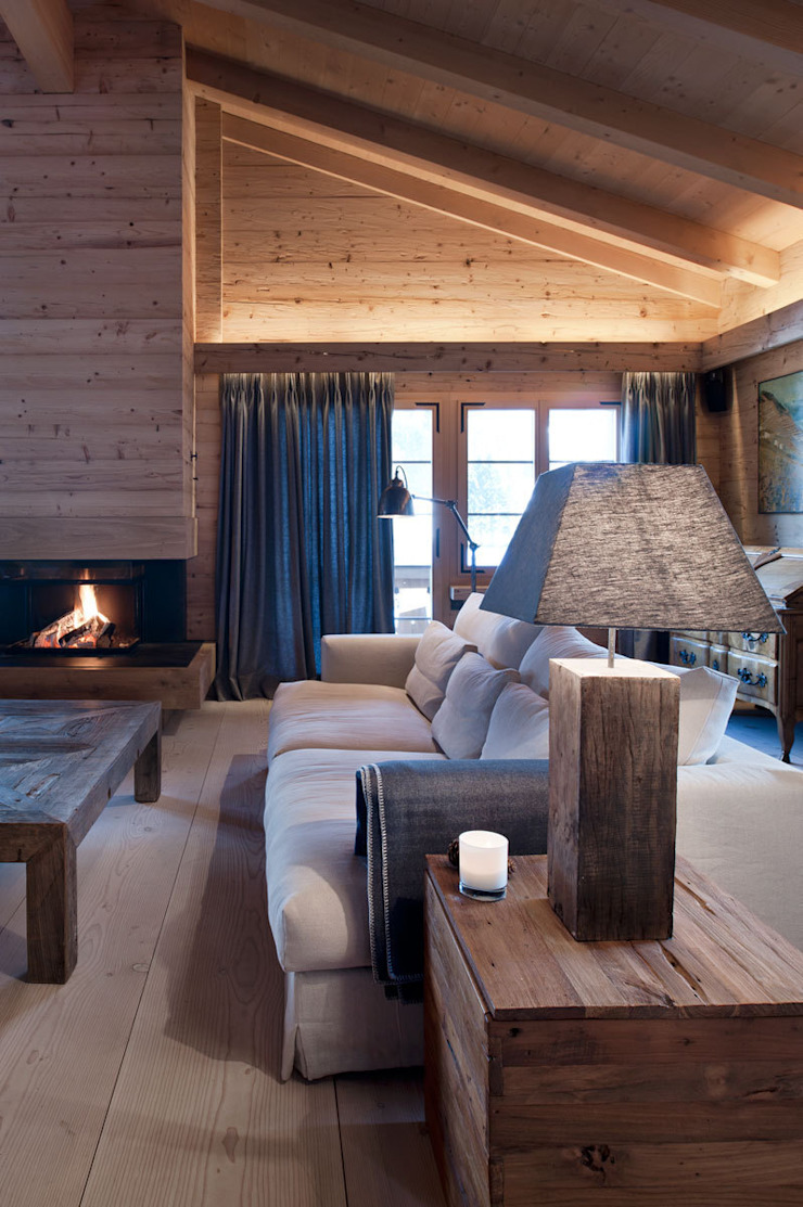 Chalet Gstaad Rustic style living room by Ardesia Design Rustic