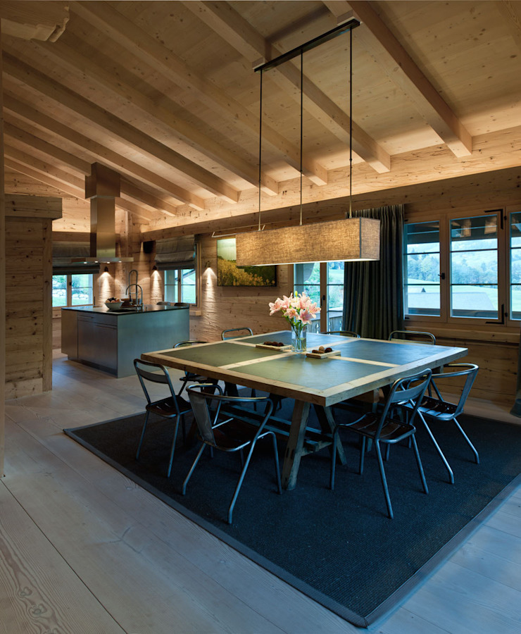 Chalet Gstaad Ruang Makan Gaya Rustic Oleh Ardesia Design Rustic