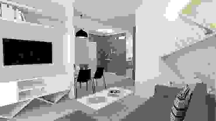 Mieszkanie 49m2 Nowoczesny salon od WNĘTRZNOŚCI Projektowanie wnętrz i mebli Nowoczesny