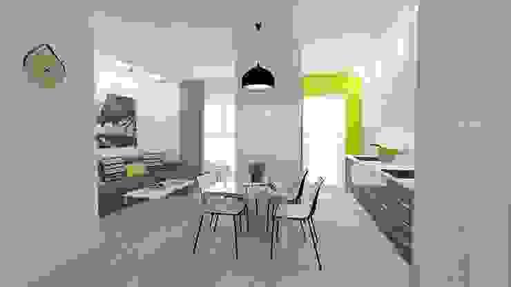 Mieszkanie 49m2 Nowoczesna jadalnia od WNĘTRZNOŚCI Projektowanie wnętrz i mebli Nowoczesny