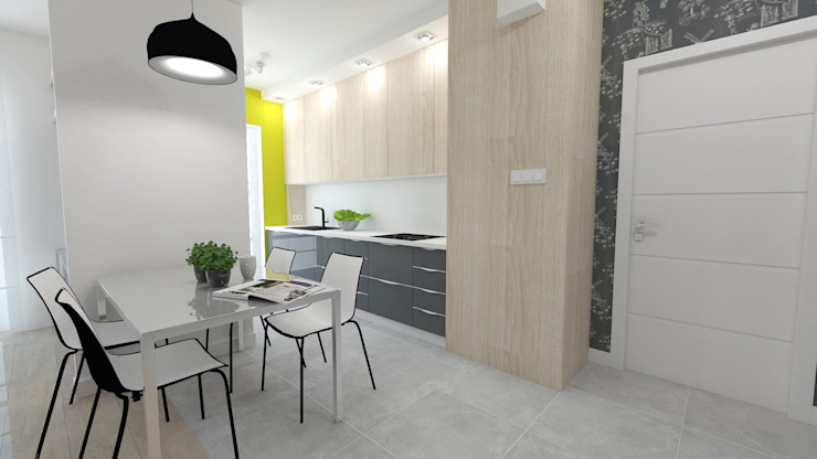 Mieszkanie 49m2 Nowoczesna kuchnia od WNĘTRZNOŚCI Projektowanie wnętrz i mebli Nowoczesny