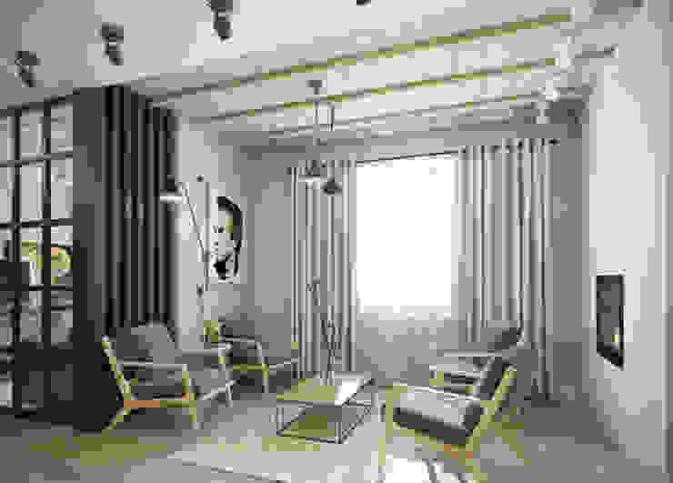 трехкомнатная квартира Гостиная в стиле лофт от цуккини Лофт