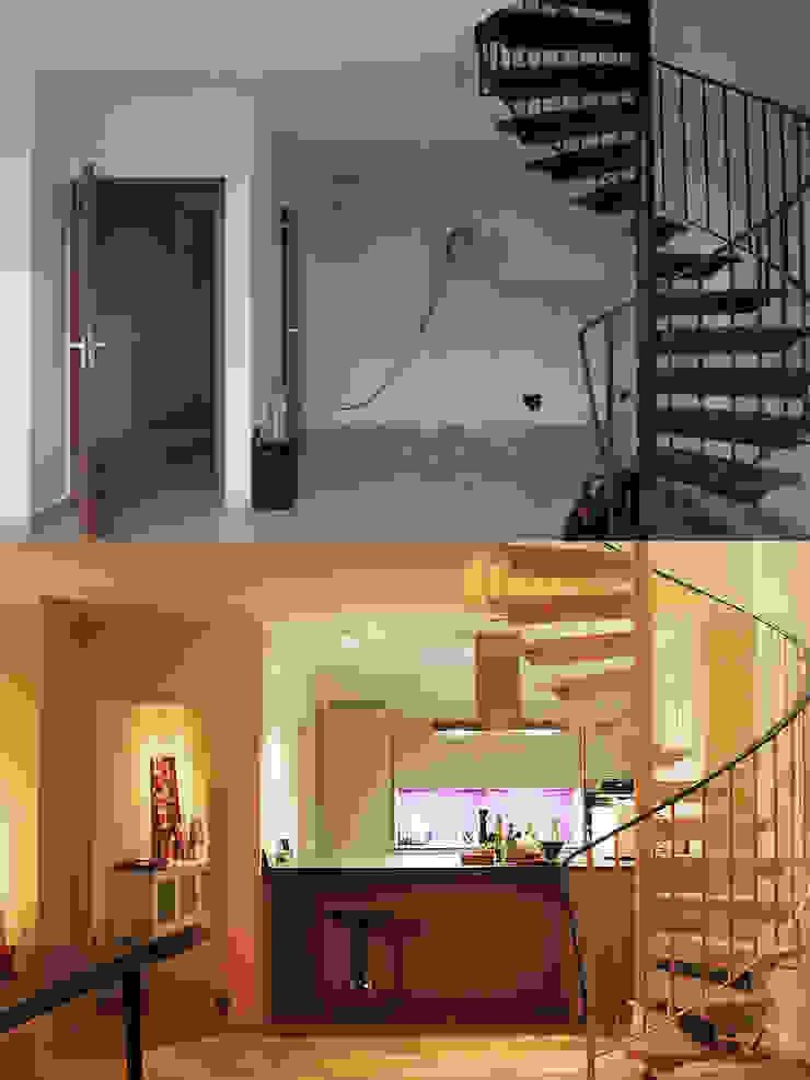 Die Küche vorher und nachher: modern  von Wohnwert Innenarchitektur,Modern