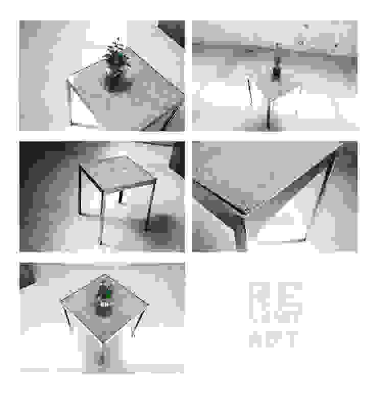 Stalowy stolik kawowy z betonowym blatem od ReNowe Art Azjatycki