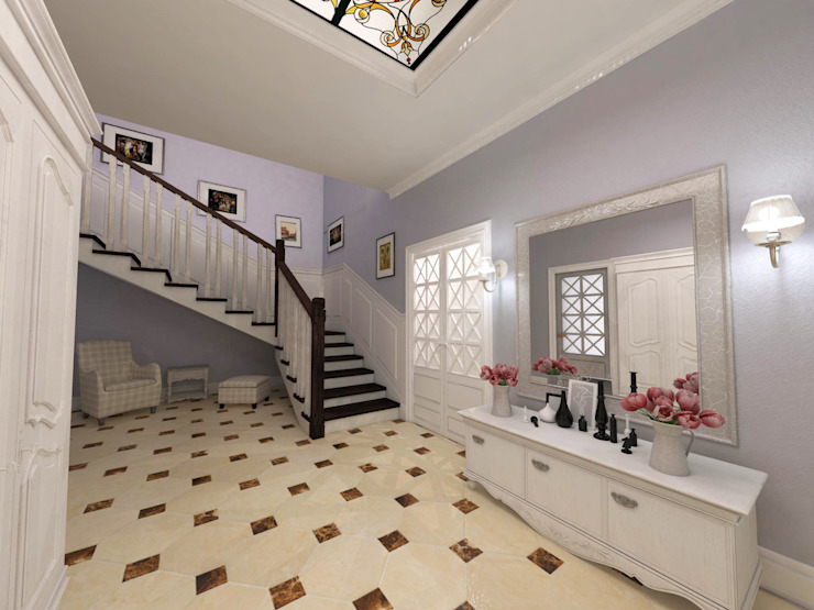 Eclectic style corridor, hallway & stairs by Студия Маликова Eclectic