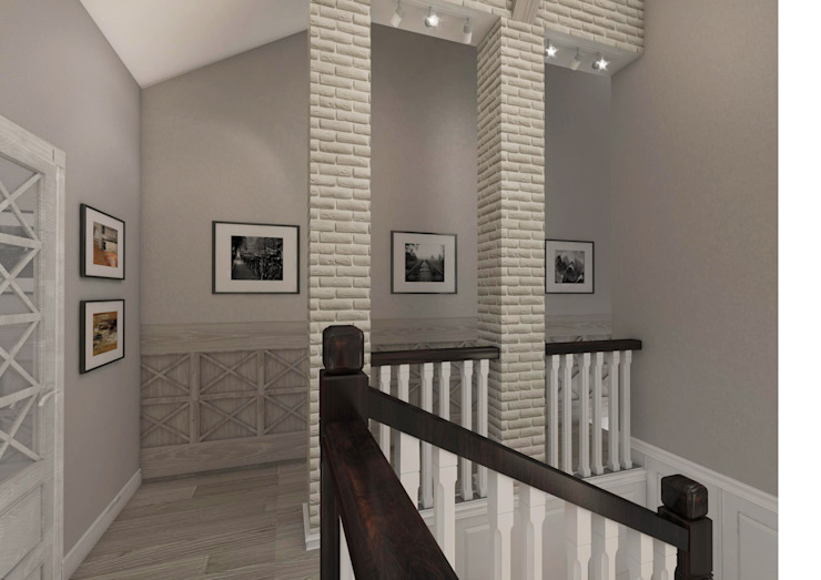 Country style corridor, hallway& stairs by Студия Маликова Country
