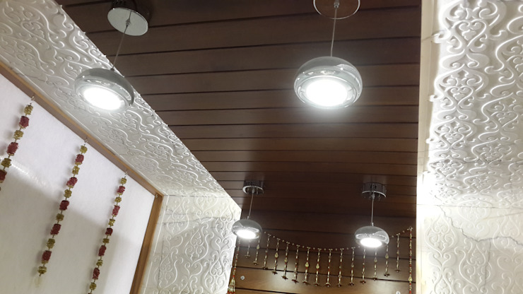 Led Drop lights in the pooja room ceiling Modern corridor, hallway & stairs by Hasta architects Modern