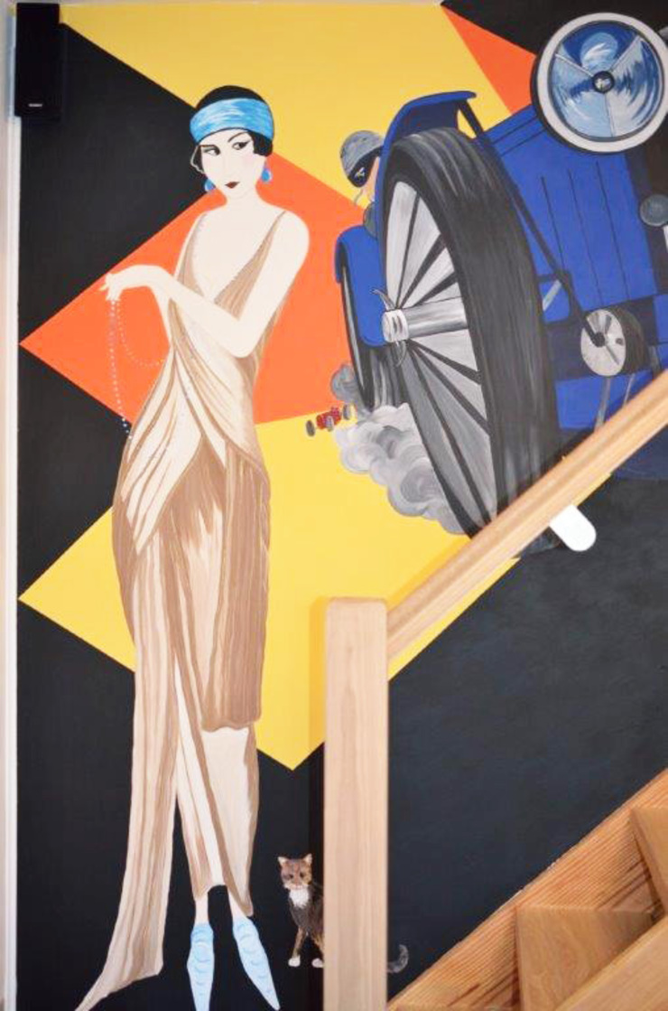 Art Deco Feature Wall Mural Eclectic style corridor, hallway & stairs by Joanna Perry Murals Eclectic